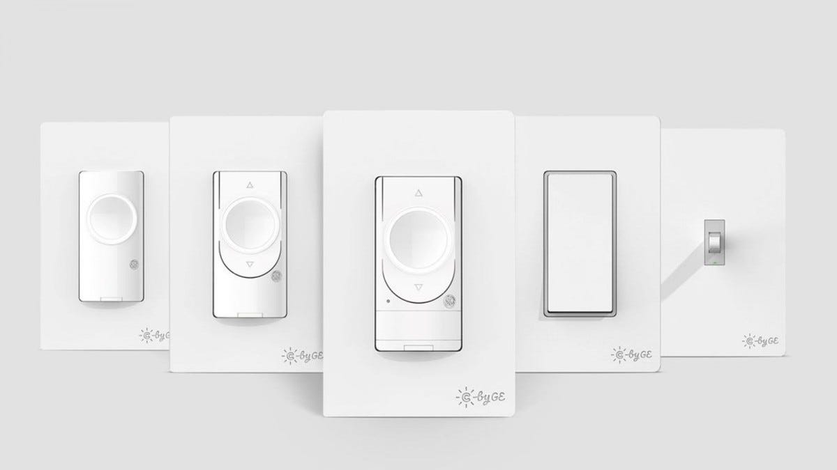 Five different smart switches in dimmer, toggle, and paddle styles.