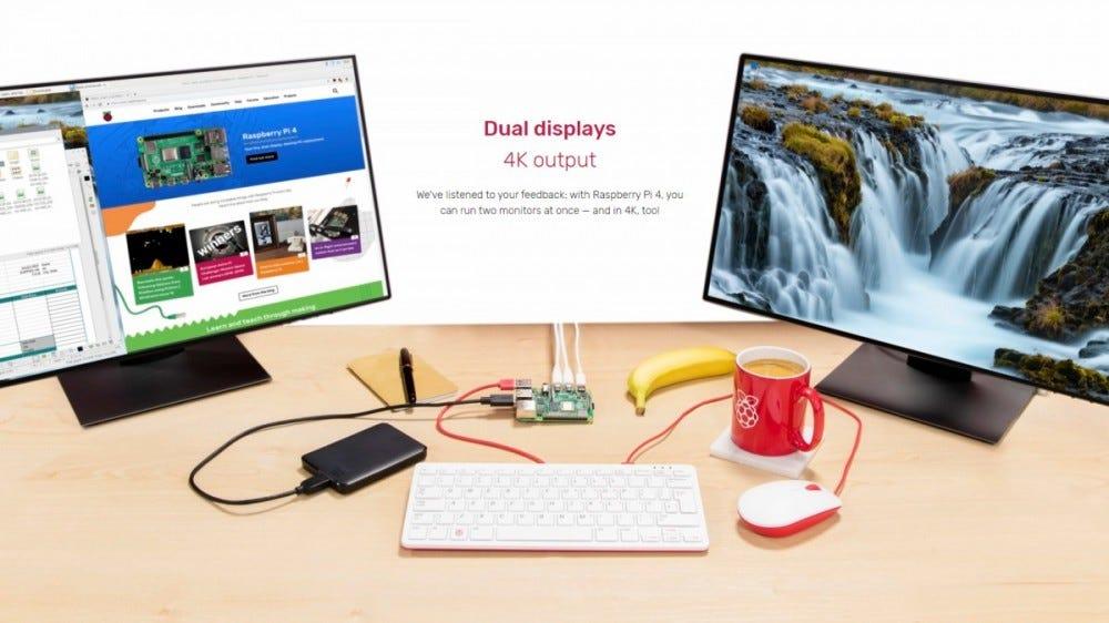 A PI 4 set up at a desktop with two monitors.