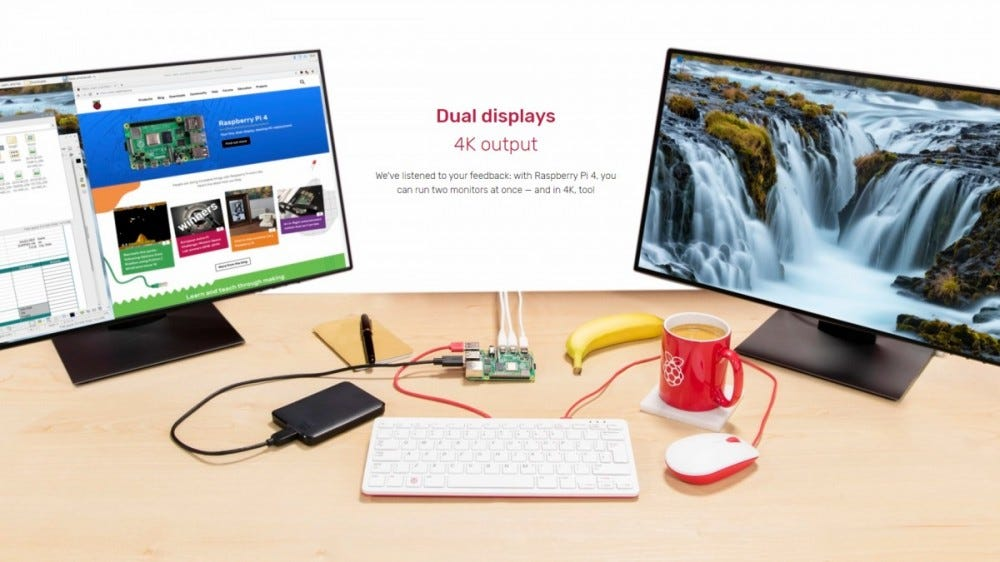 A PI 4 set on a desktop with two screens.