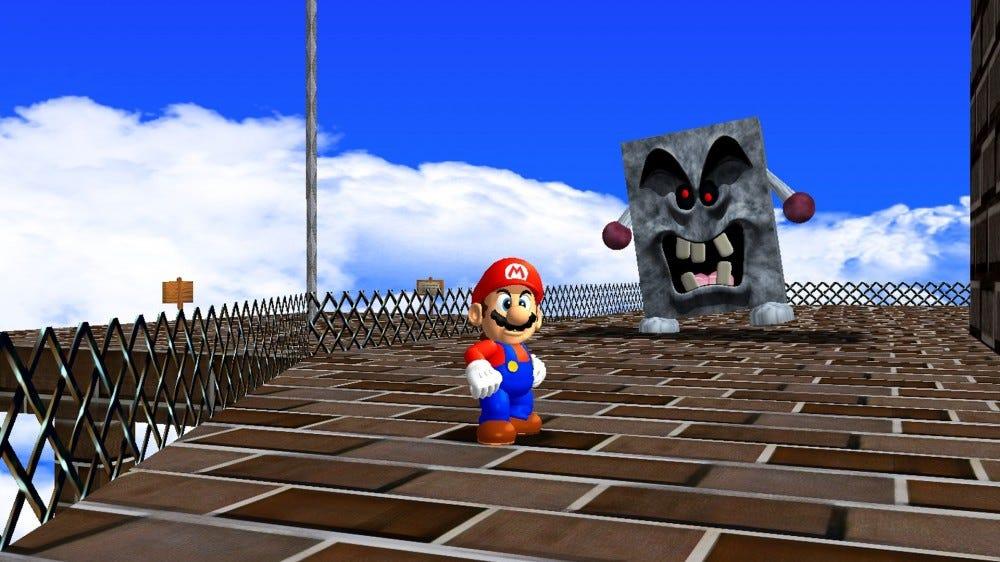 A screenshot of the Mario 64 SGI mod in action.