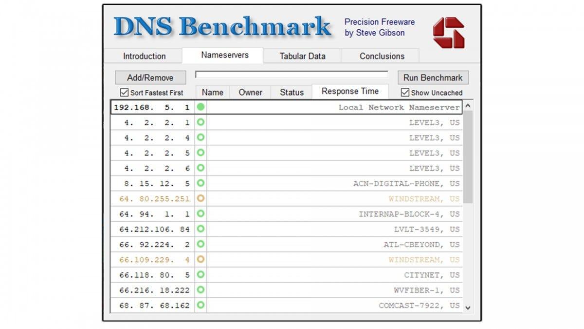 A screenshot of the DNS Benchmark software.