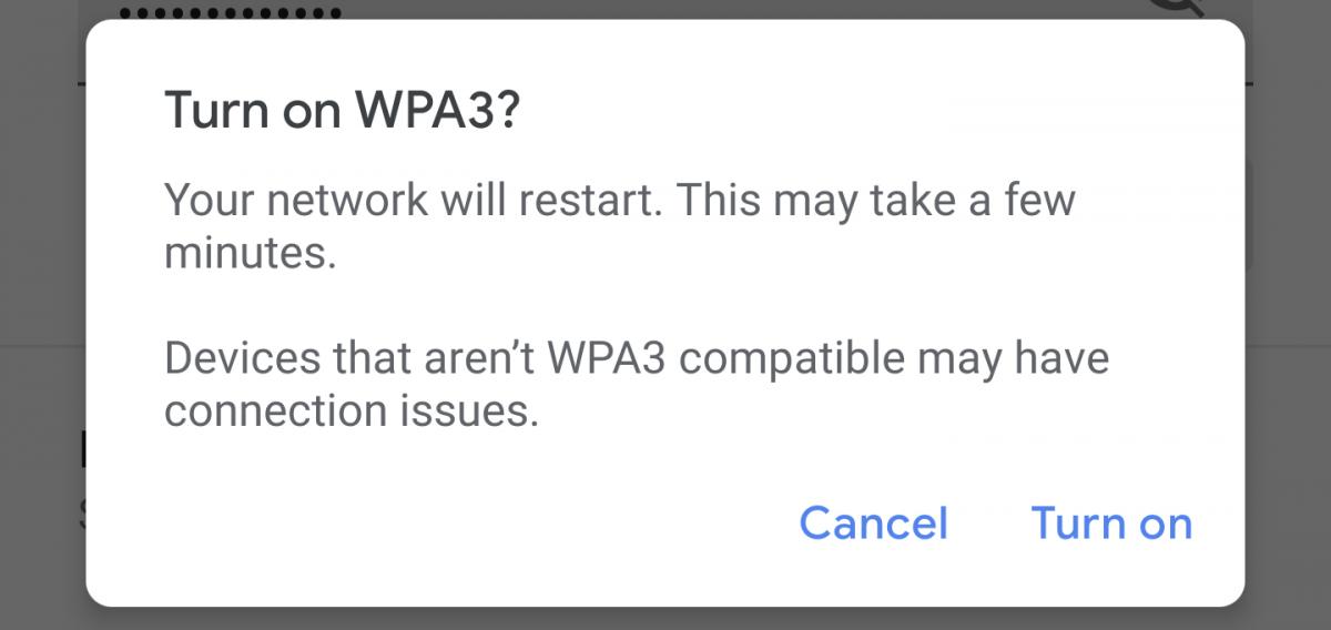 WPA3 warning on Nest Wifi
