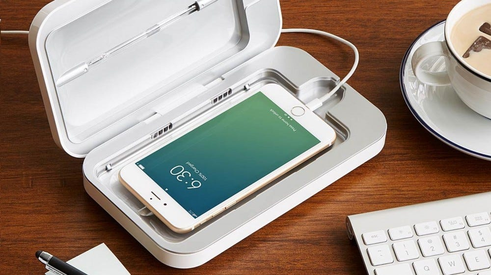 A photo of the PhoneSoap phone sanitizer.