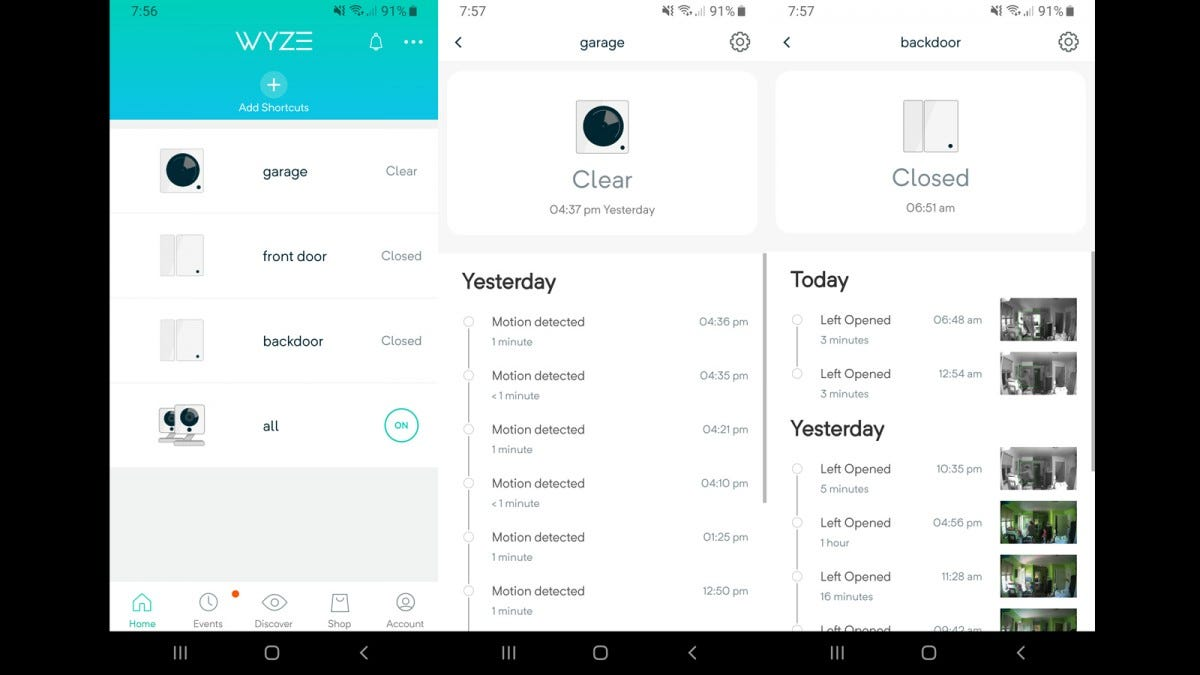 Wyze app showing installs and notifications.