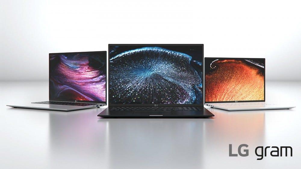 Three LG gram laptops set against a white background.