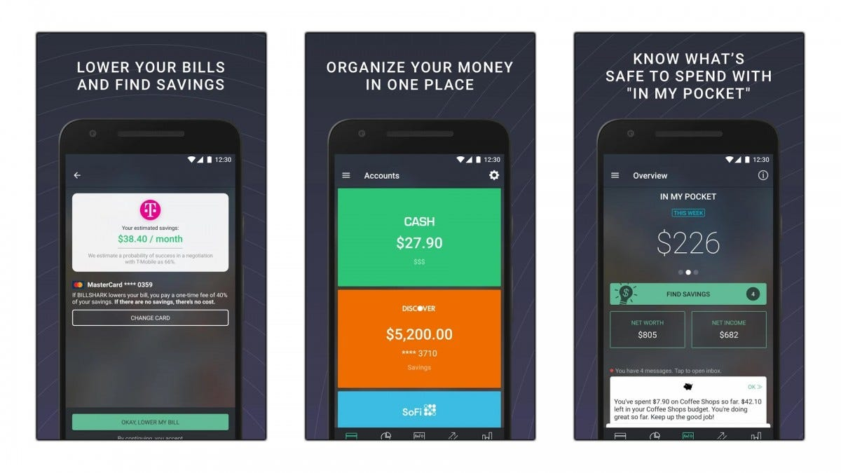 Screenshots of the Pocketguard money tracking app.