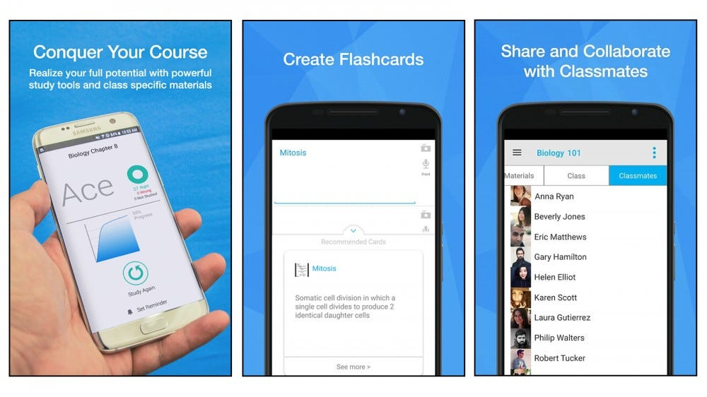 StudyBlue app for creating and studying flashcards, or crowdsourcing course material from other students on the app