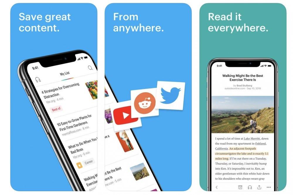 Screenshot of the Pocket app