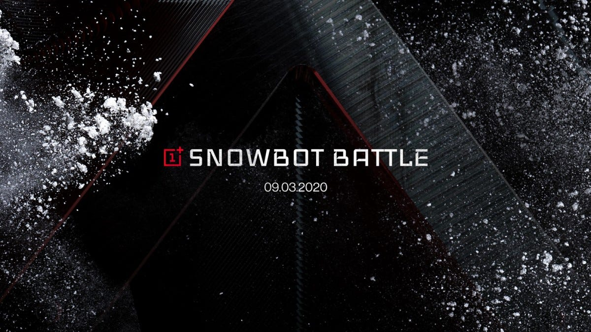 "A field of black and red, covered in snow and the words ""Snowbot battle"""