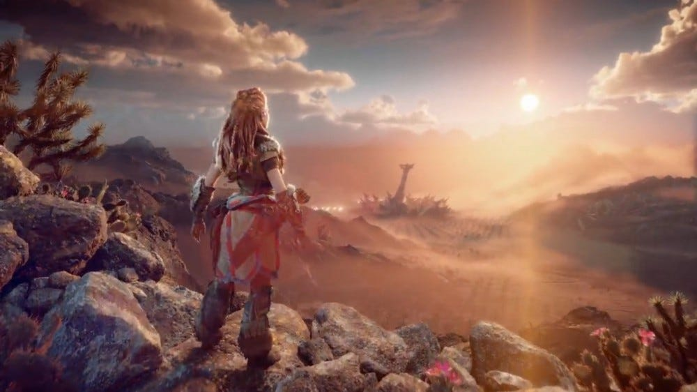 "Aloy, from upcoming game ""Horizon Forbidden West"" watching the sun set."