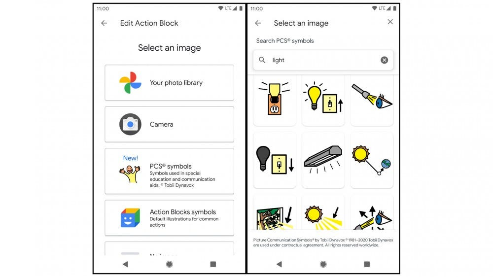Two apps showing the ease of setting up an action block.