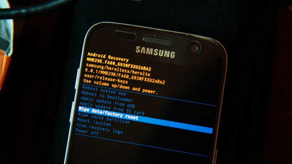 A Samsung Android phone in a bootloader recovery screen.