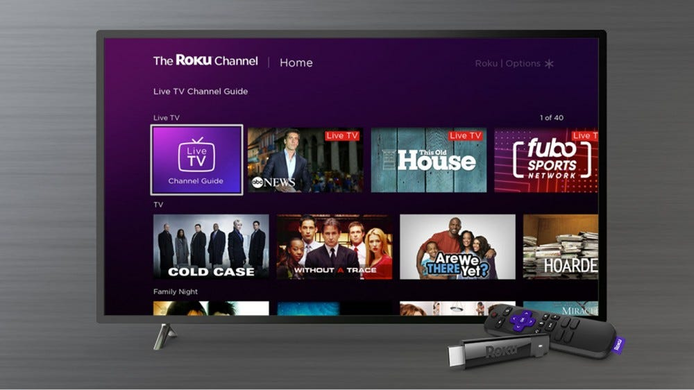 The Roku Channel with a Live TV Channel Guide tile near the top.