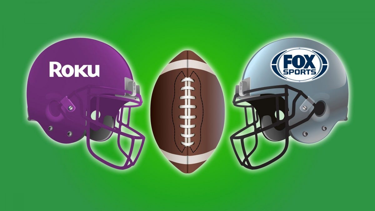 Roku vs Fox football hemlets.