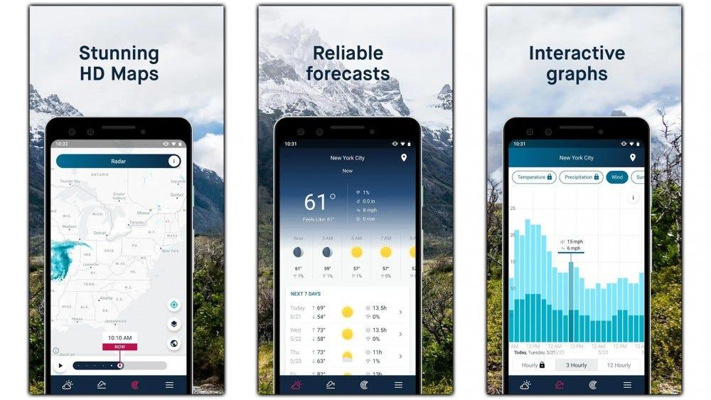 Screenshots of the WeatherPro app.