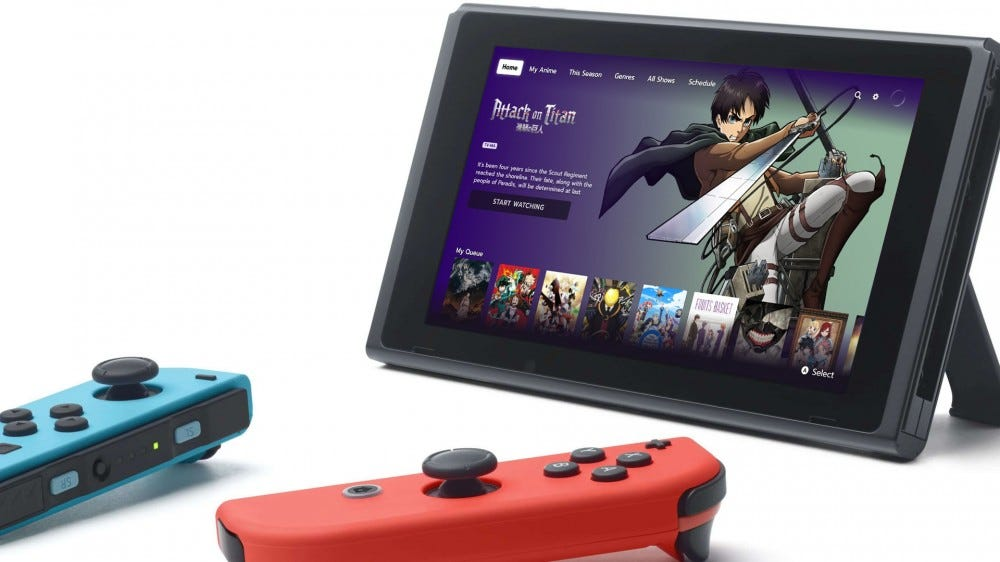 Nintendo Switch showing Funimation app