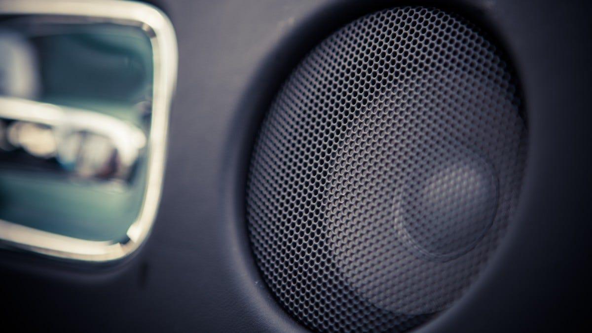 A speaker in a car door.