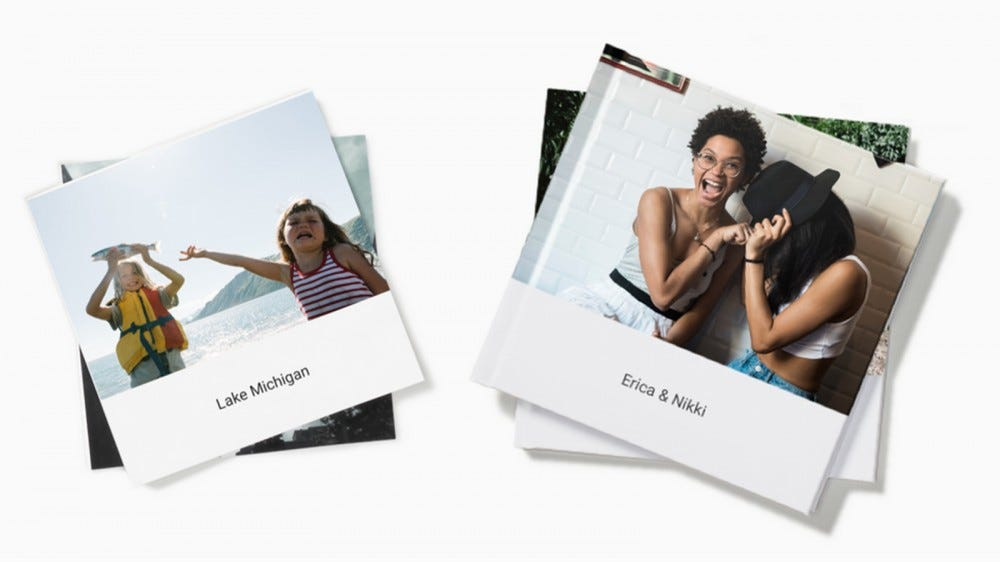 Two Google Photos Photo Books, featuring a camping trip.