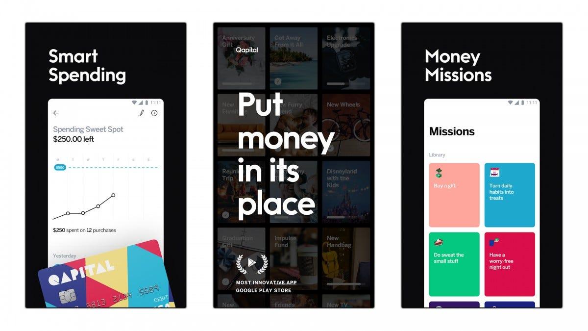 Screenshots of the QAPITAL app.