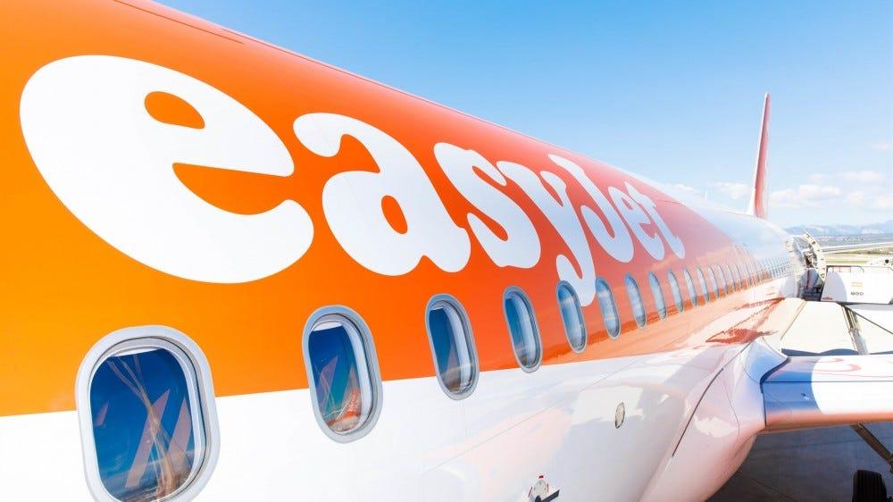 A closeup of an EasyJet plane showing off its logo.