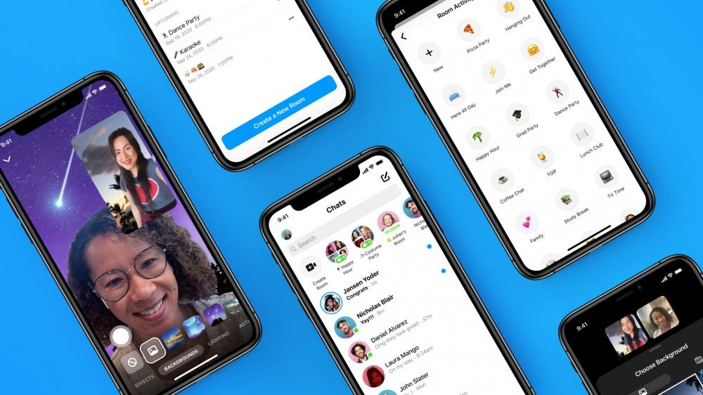 A few iPhones with Messenger Rooms open on them
