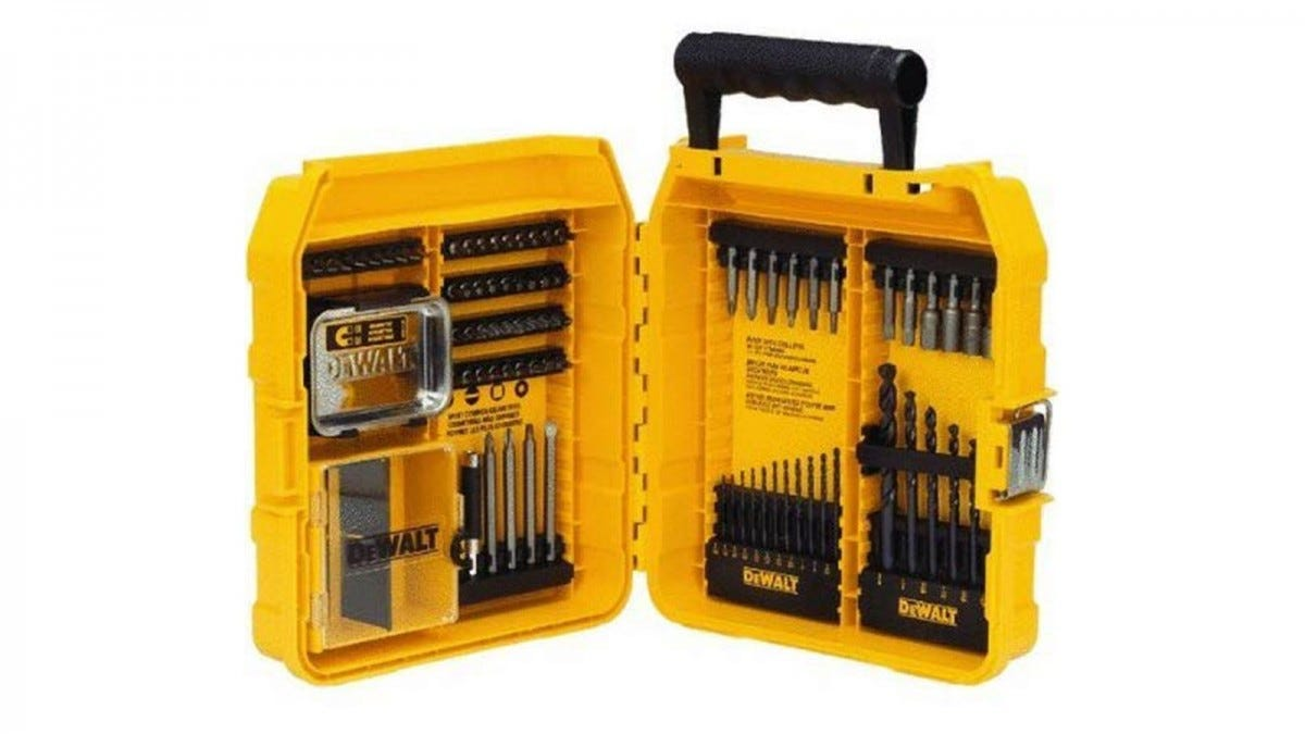 The DEWALT Drill and Driver Bit Set displayed in its yellow carrying case.