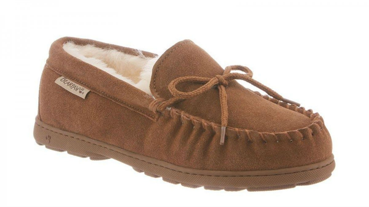 One Bearpaw Mindy Moccasin Slipper in hickory.