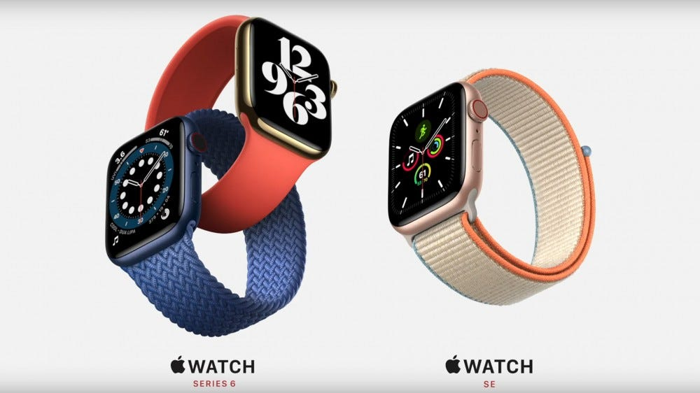 Photos of the Apple Watch Series 6 and Apple Watch SE.
