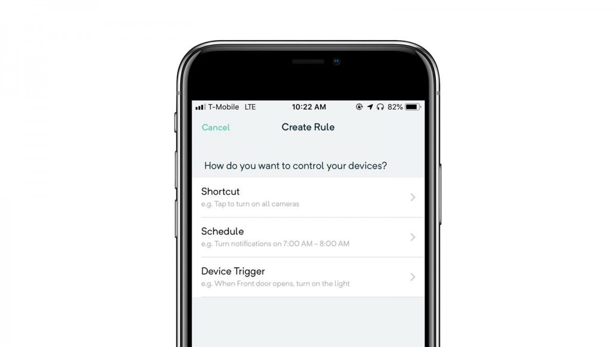 Wyze app showing custom rules, shortcuts, scheduling, and device triggers.