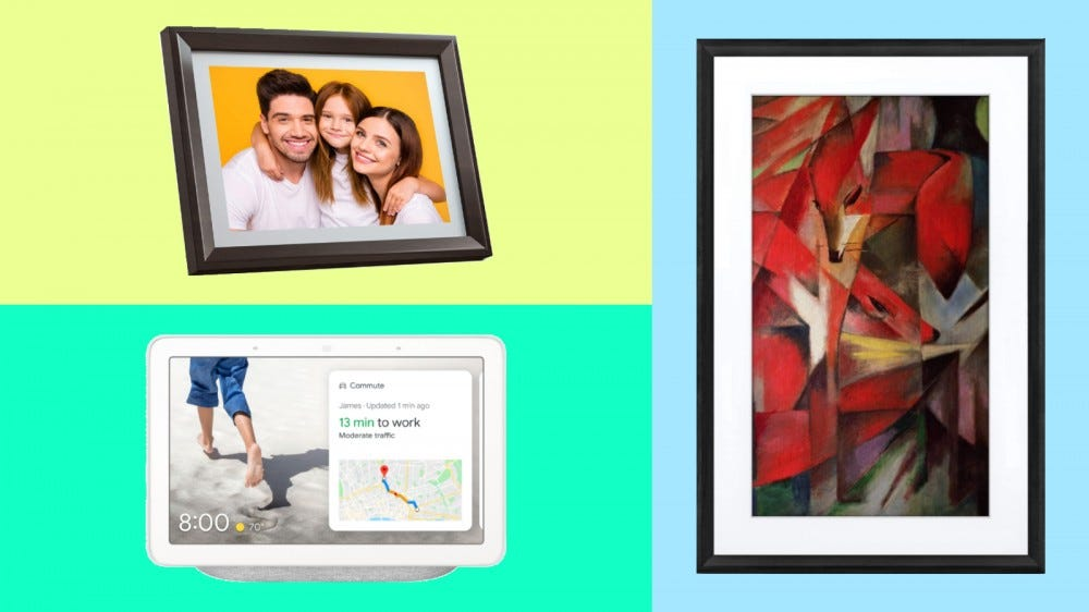 Dragon Touch Digital Picture Frame, Google Nest Hub, and Meural Canvas II in a collage.