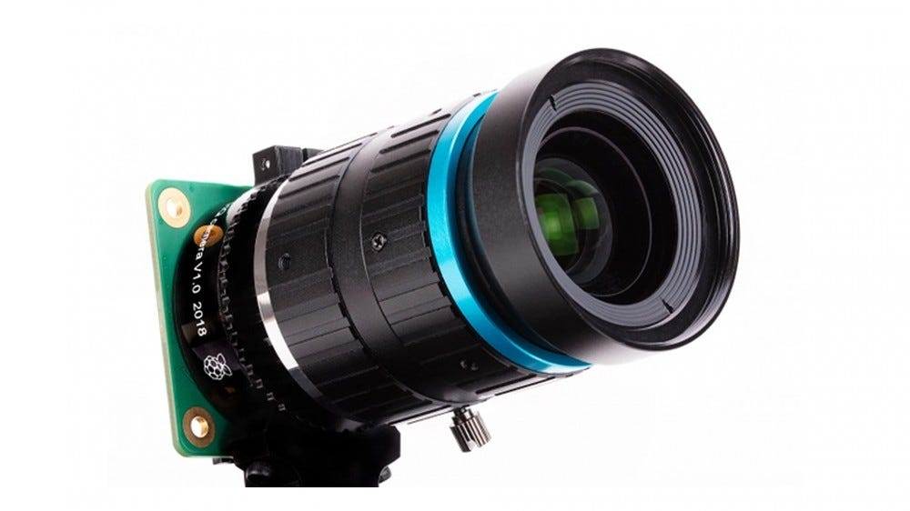 A photo of the high quality Pi camera module.