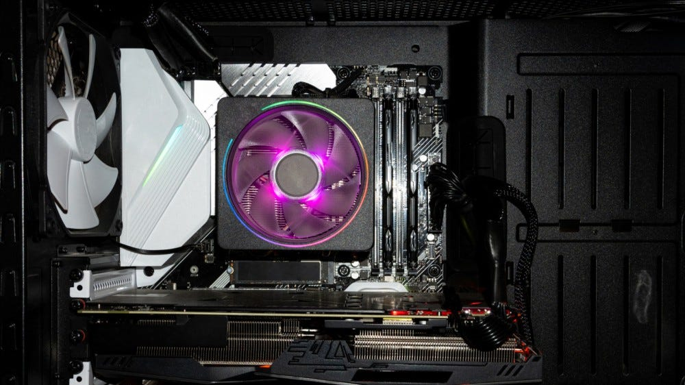 Close up of processor cooler inside of gaming PC