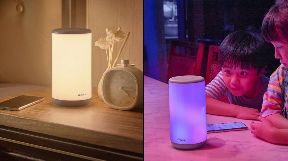 Govee Aura Smart Table Lamp showing off white and color lighting options
