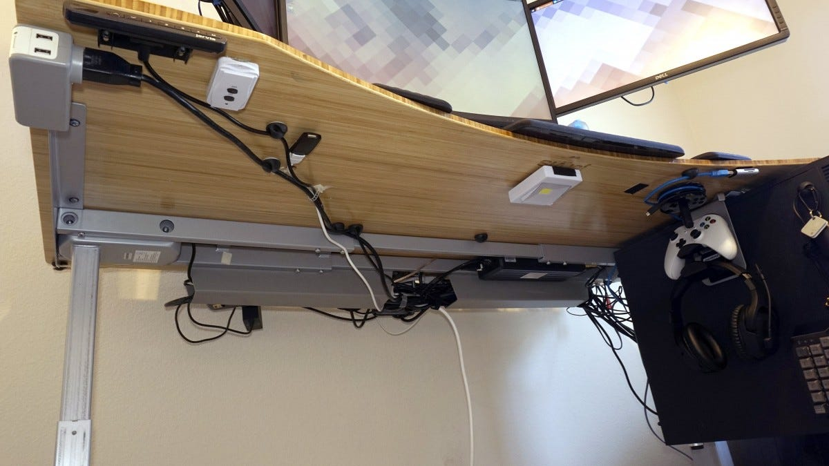 Desk underside.