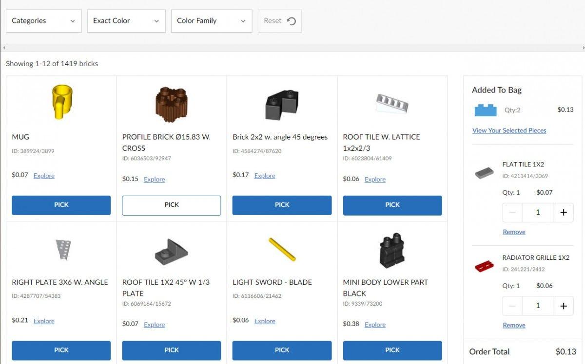 LEGO Pick A Brick system
