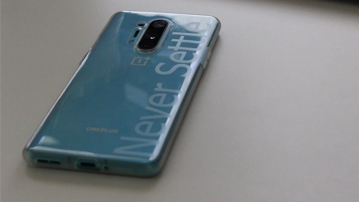 The back of the OnePlus 8 Pro in Glacial Green