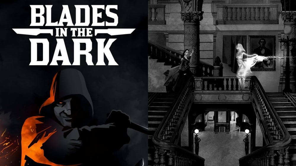 Blades in the Dark game art of man in a mask and characters fighting on stairs