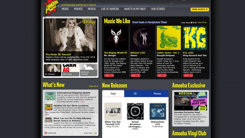 Amoeba Music homepage with vinyls and upcoming events