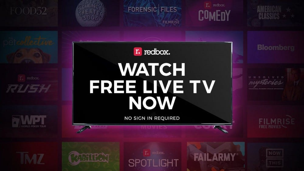 "A TV with the words ""Watch Free Live TV now"" and the Redbox logo"