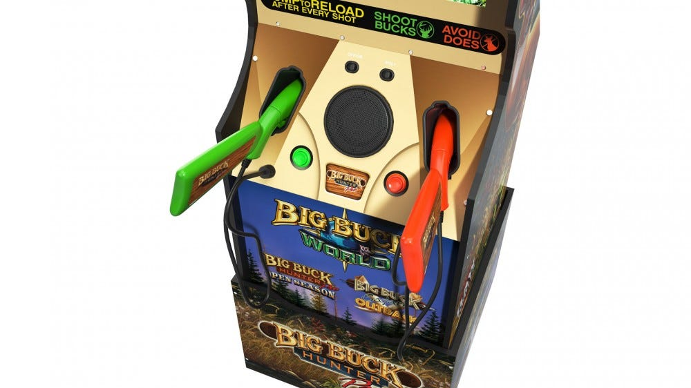 A close-up of the two weapons included in 'Big Buck Hunter'