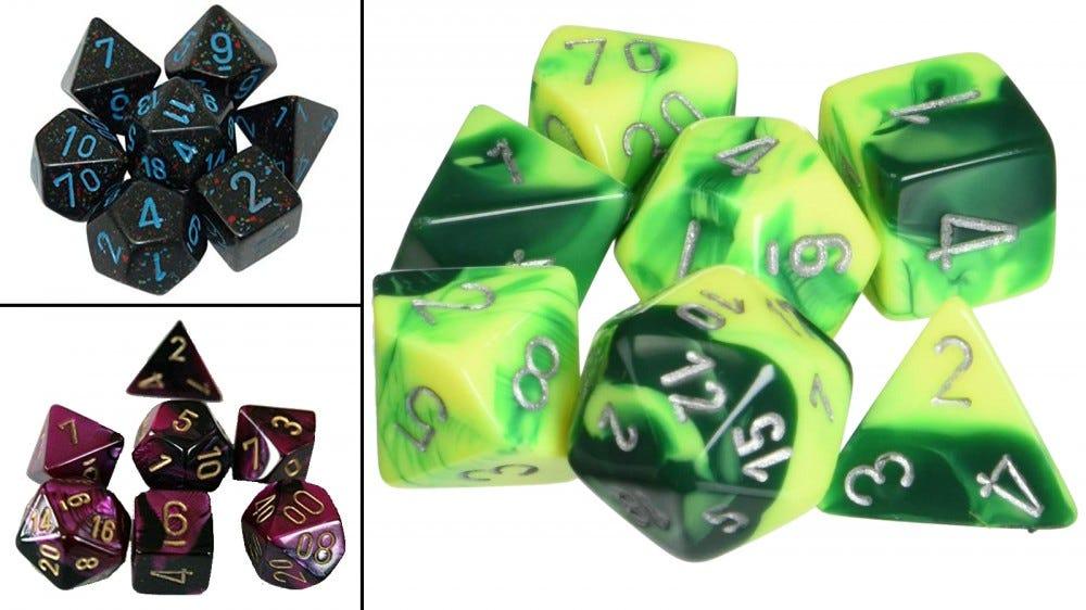 Наборы кубиков Chessex разных цветов