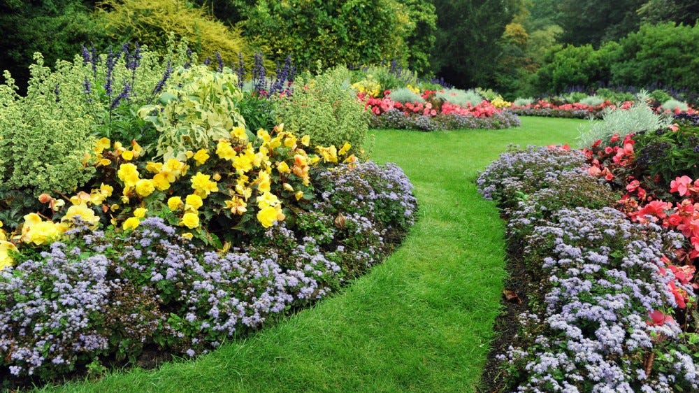 DIY Landscaping colorful flowerbeds lush grass private backyard grass pathway English formal garden