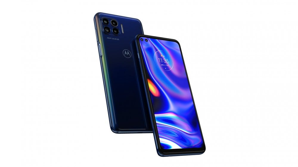 The Motorola One 5G camera against a white background.