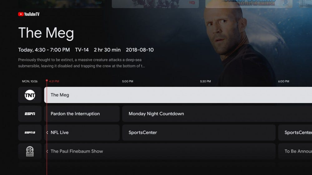 "A screenshot show ""The Meg"" movie info on the Live view on Chromecast"