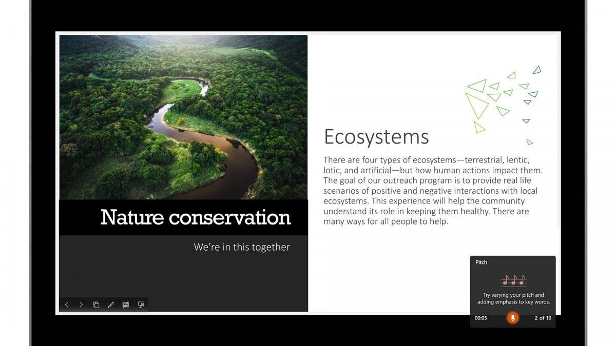 A screenshot of Presenter Coach on PowerPoint