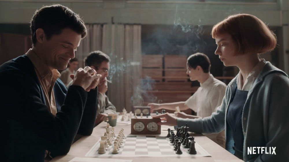 """Beth Harmon playing a game of chess in """"The Queen's Gambit"""" series from Netflix"""