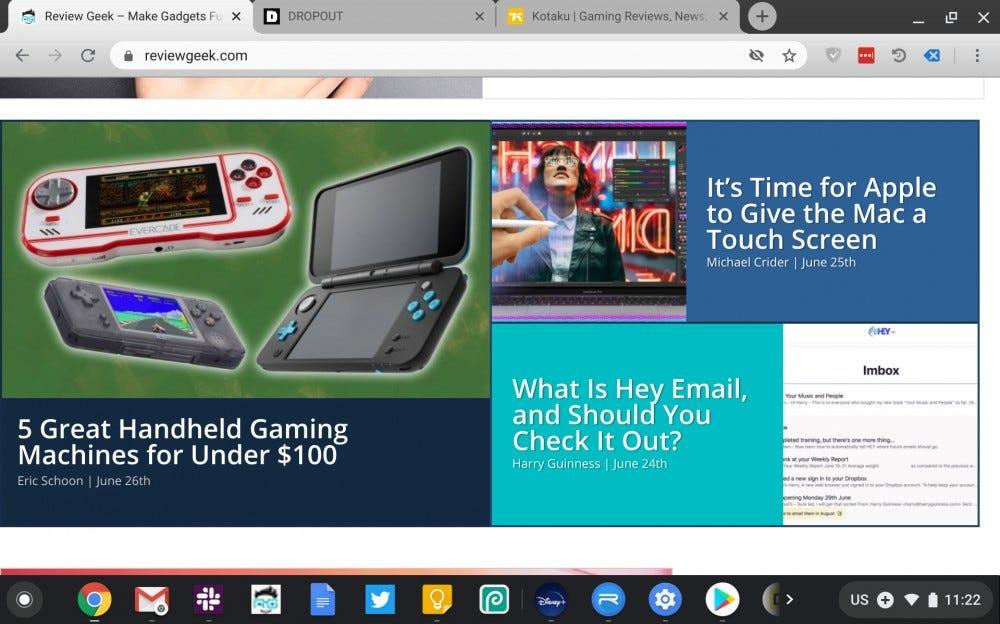 Chromebook Duet screenshot showing Review Geek