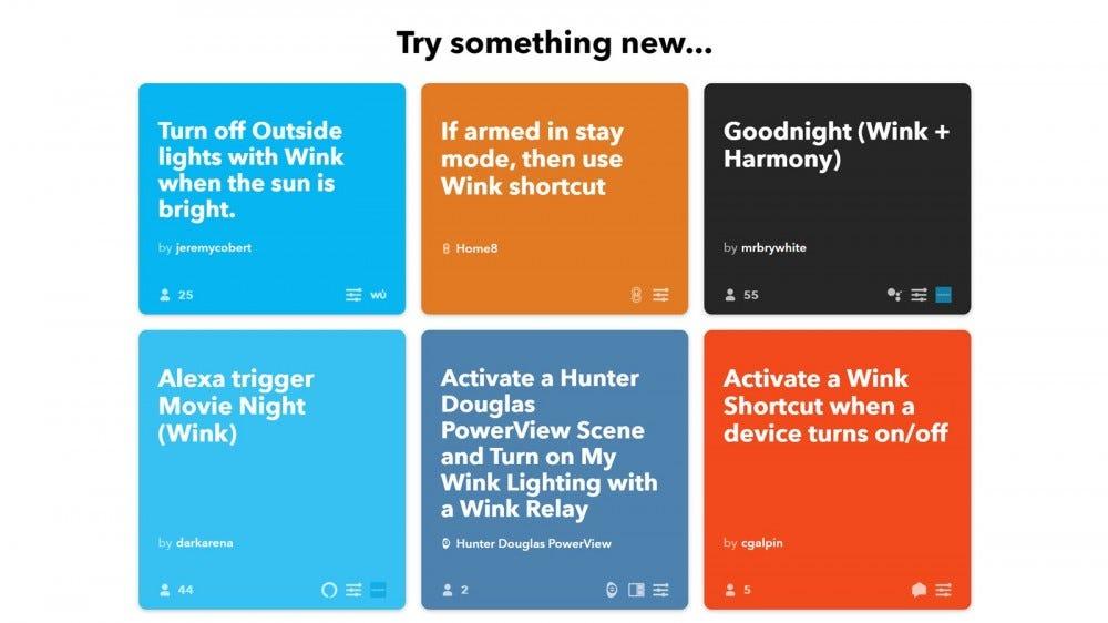 A series of IFTTT Wink Shortcuts that no longer work.