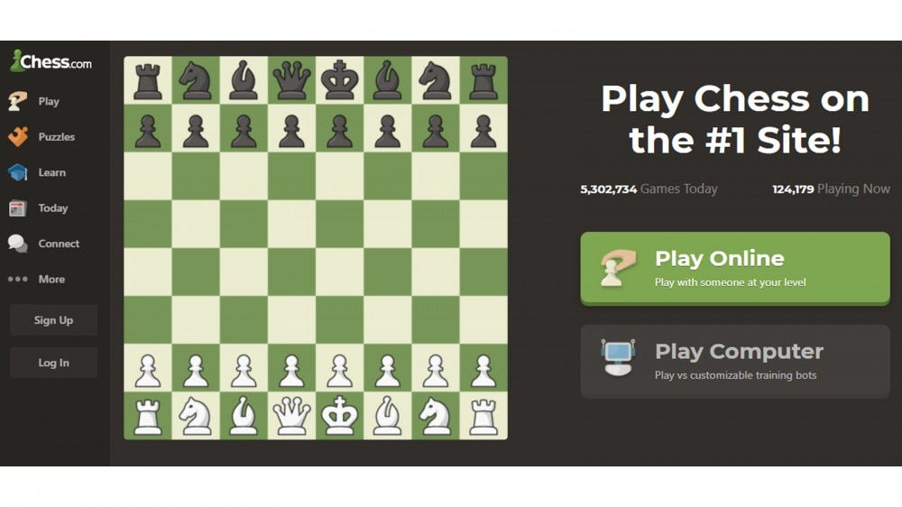 chess.com homepage with options for playing a game or signing up