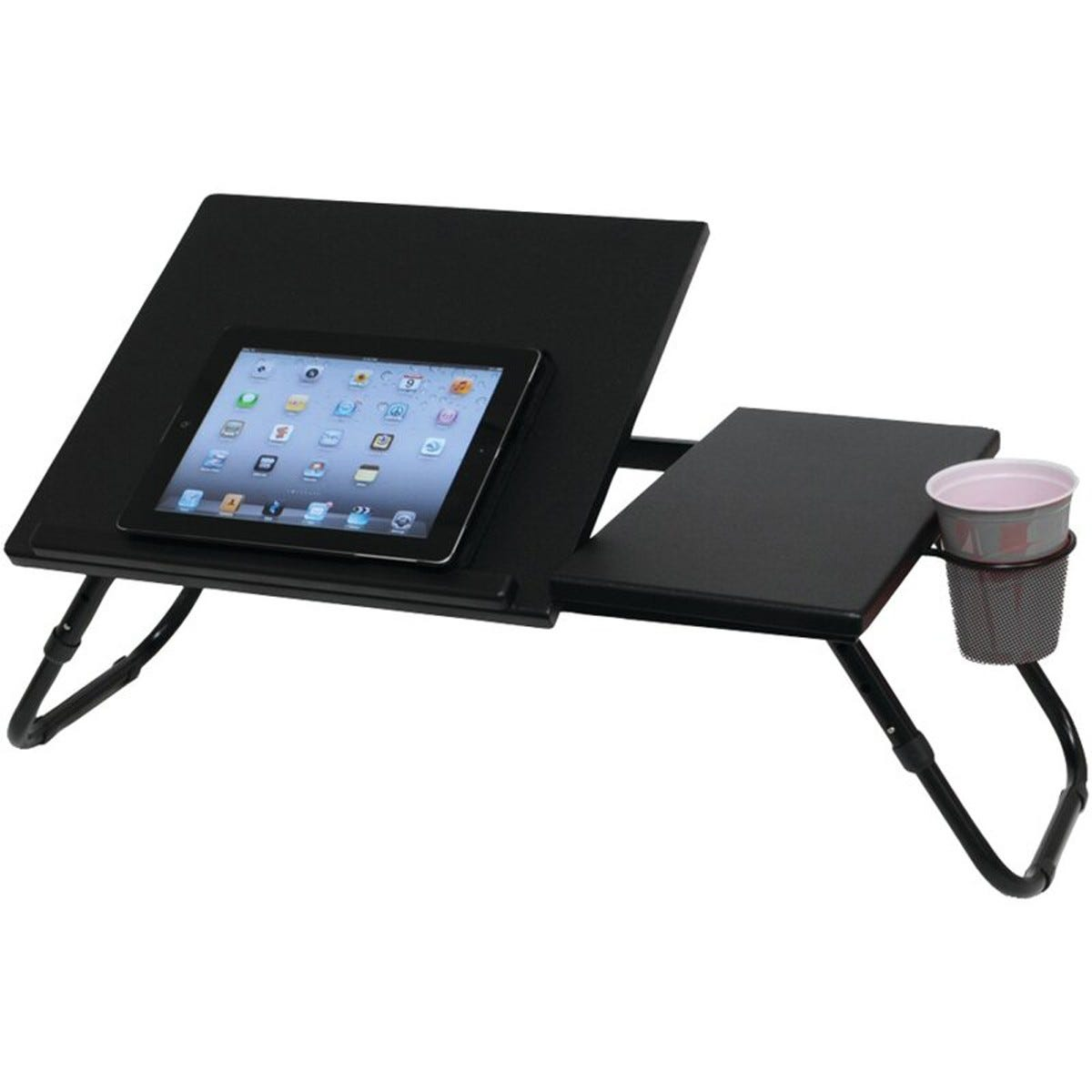The Symple Stuff Laptop Tray with a tablet on top and a cardboard cup in the cupholder.